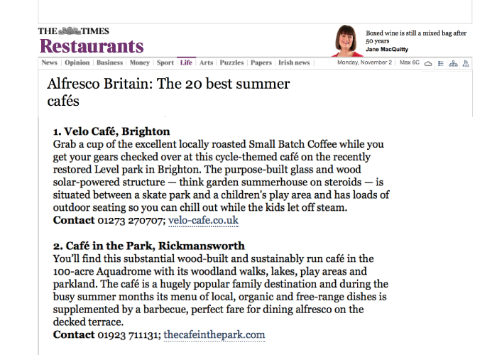 TheTimes - Best Summer café